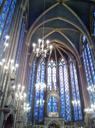 Saint Chapelles Royal Chapel in Paris France. Upon entering the main chapel, all eyes are drawn to the ancient stained glass windows The striking combination of light and space is awe-inspiring, especially if you happen to visit on a sunny day,