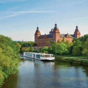 Viking Longship Idun on the Main River in front of Johannisburg Palace, Aschaffenburg, Germany